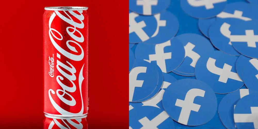 Colori distintivi di Coca-Cola e Facebook